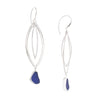 Blue Sea Glass Double Arc Earrings