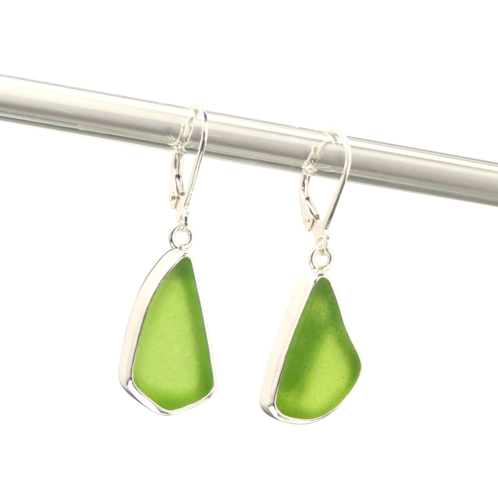 Lime Sea Glass Earrings