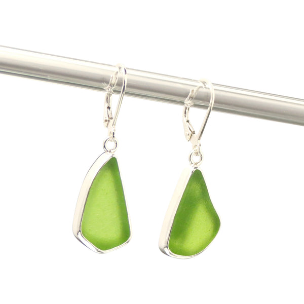 Lime Sea Glass Earrings 1741