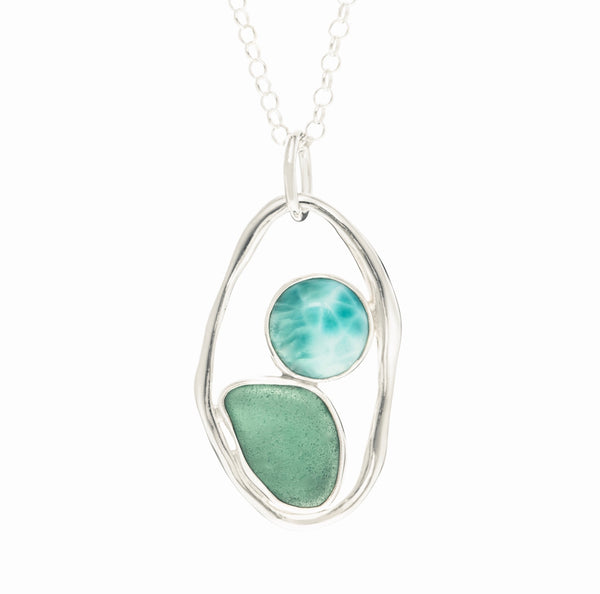 Teal Sea Glass & Larimar Necklace