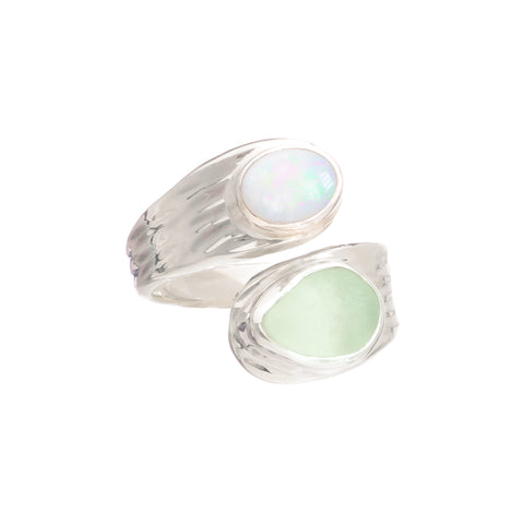 Seafoam Sea Glass & Opal Ring