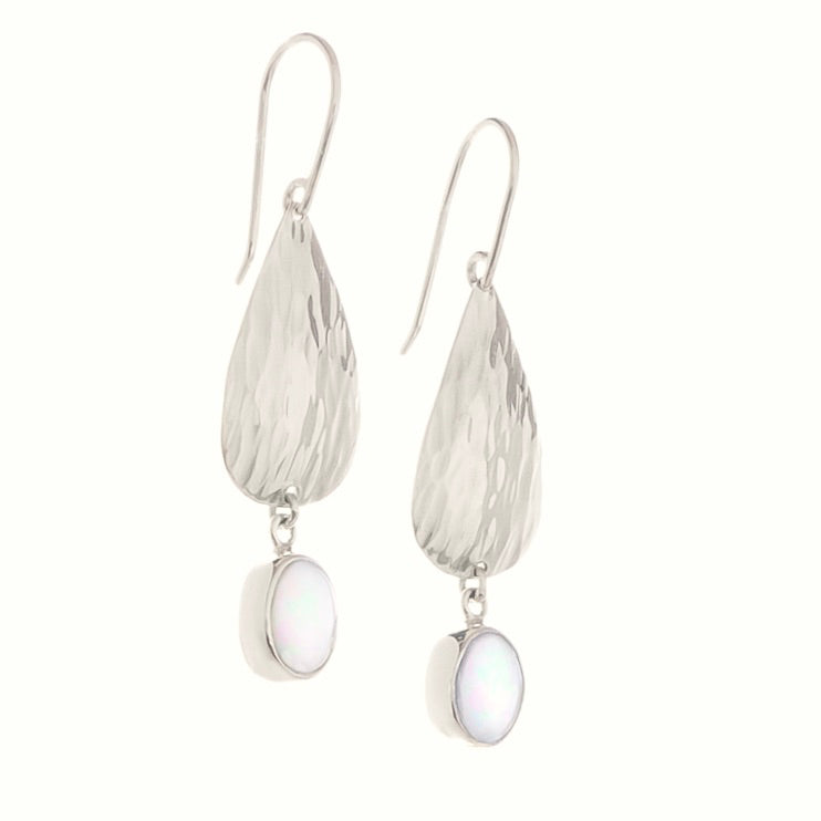Silver & Opal Drop Waterfall Earrings