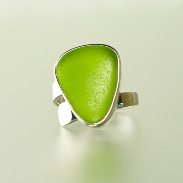 Lime Sea Glass Ring