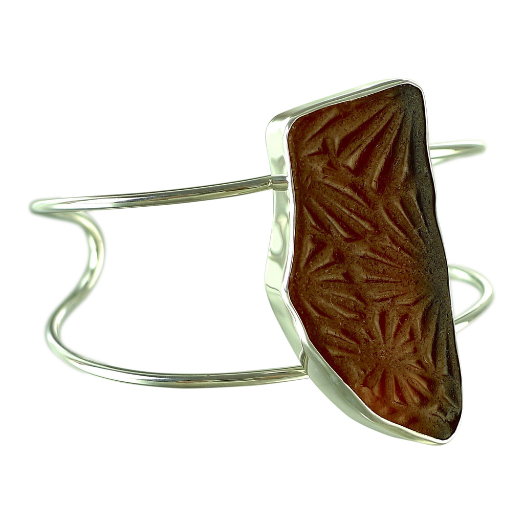 oceano Patterned Amber Sea Glass Cuff Bracelet