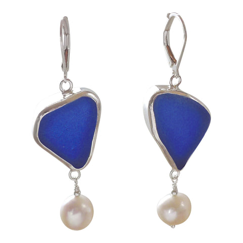 oceano Blue Sea Glass Drop Earrings with Pearl Accent
