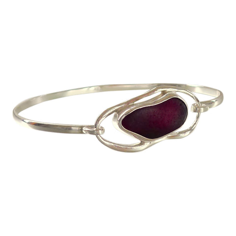 oceano Rare Red Sea Glass Bangle Bracelet