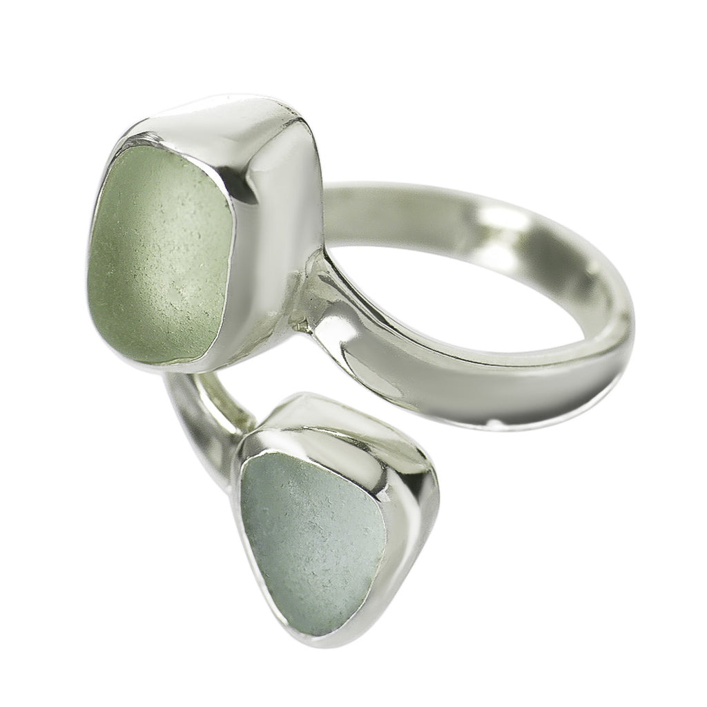 Seafoam Sea Glass Double Ring