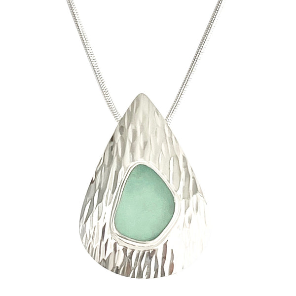 Aqua Sea Glass Waterfall Necklace