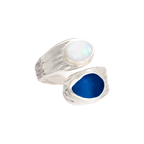 Blue Sea Glass & Opal Ring