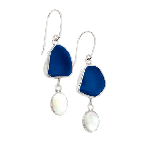 Blue Sea Glass & Opal Drop Earrings