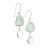 Seafoam Sea Glass & Opal Drop Earrings