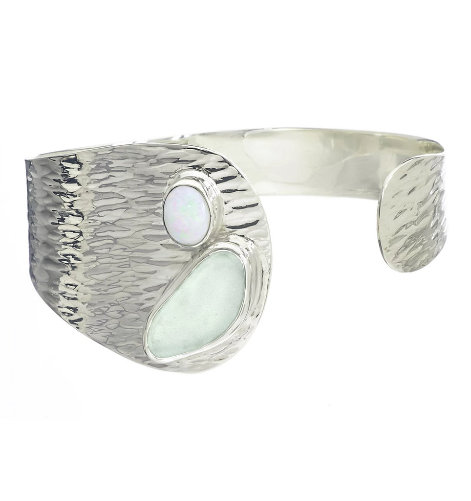 Seafoam Sea Glass Waterfall Cuff Bracelet