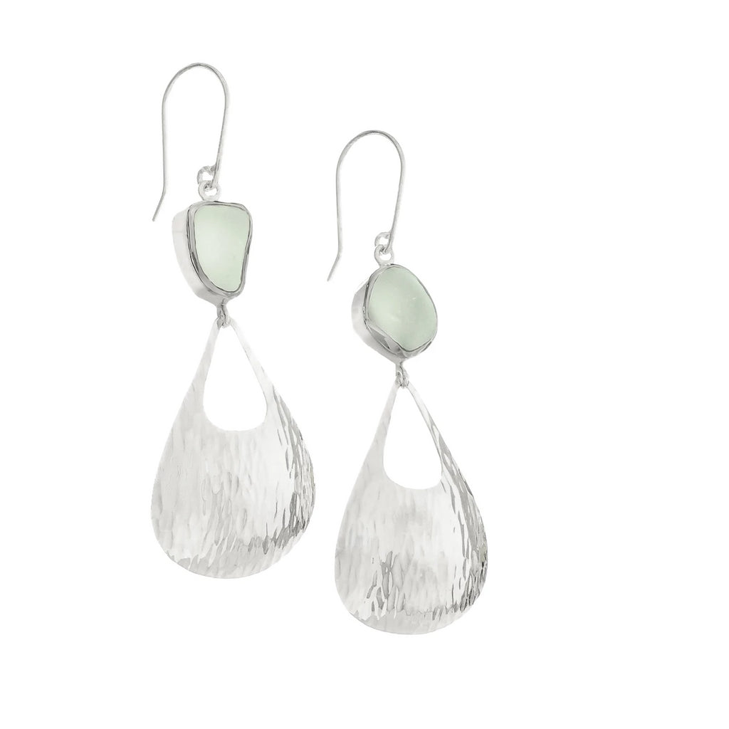 Seafoam Sea Glass Waterfall Earrings