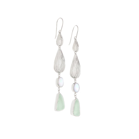 Soft Green Sea Glass Waterfall Long Earrings