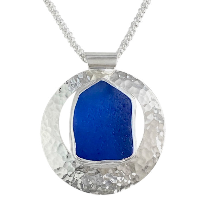 Blue Sea Glass Silver Circle Necklace