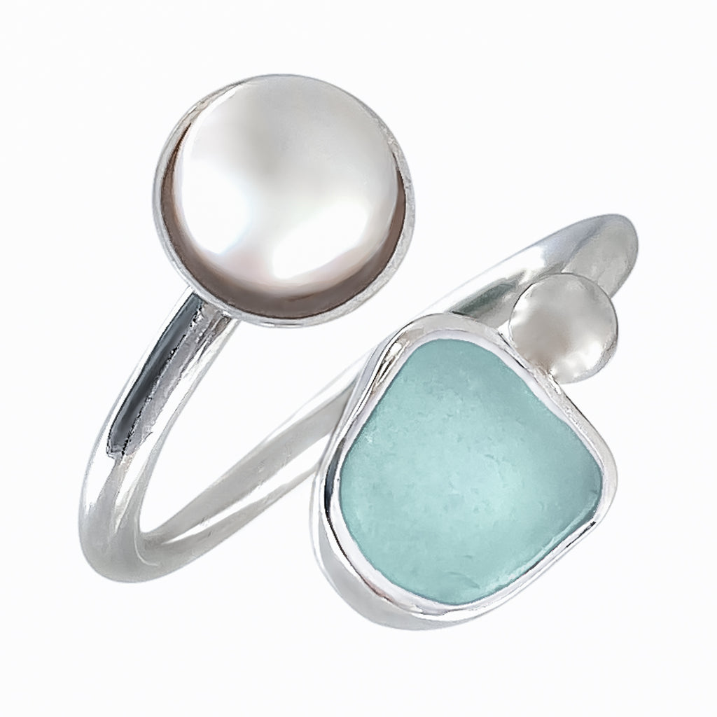 Aqua Sea Glass & Pearl Adjustable Ring