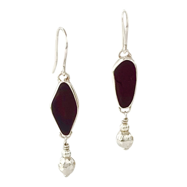 Dark Red Sea Glass Earrings