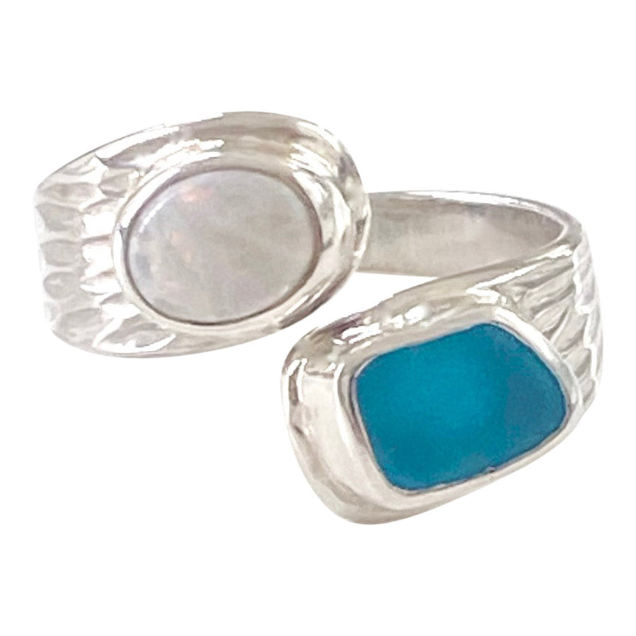 Turquoise Sea Glass & Opal Adjustable Ring