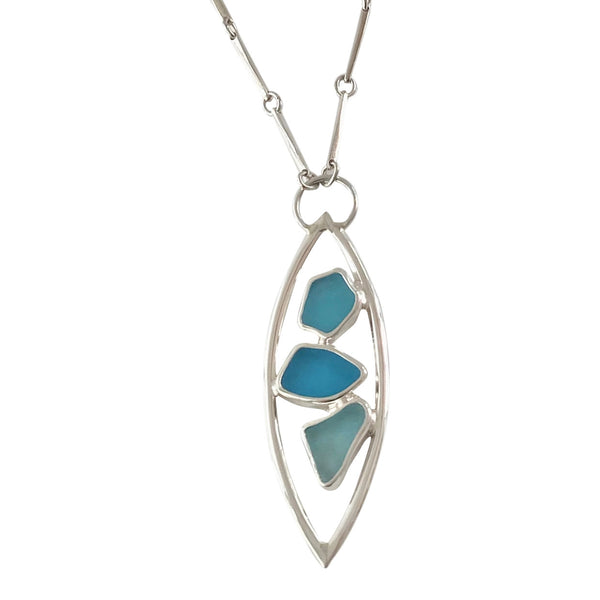 Turquoise Sea Glass Double Arc Necklace