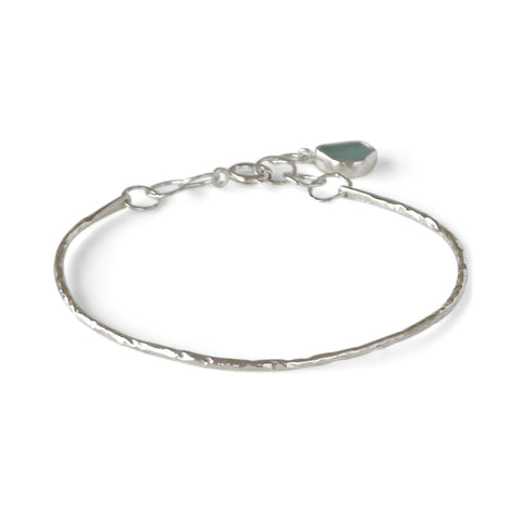 Sea Glass Bangle Charm Bracelet