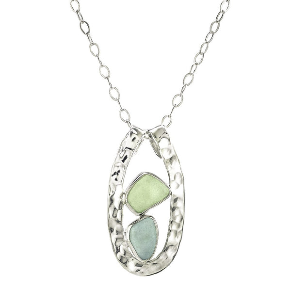 Seafoam Sea Glass Slender Curve Necklace