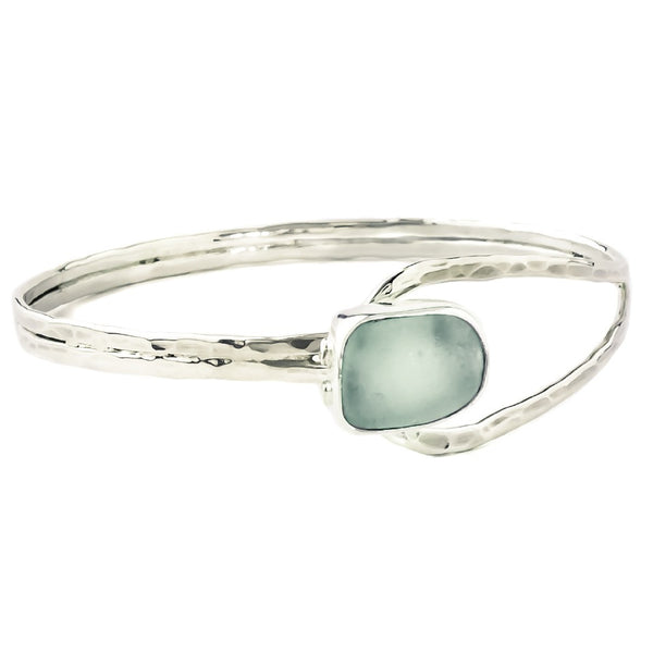 Seafoam Sea Glass Slender Curve Bangle