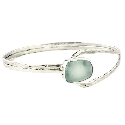 Seafoam Sea Glass Silver Bracelet