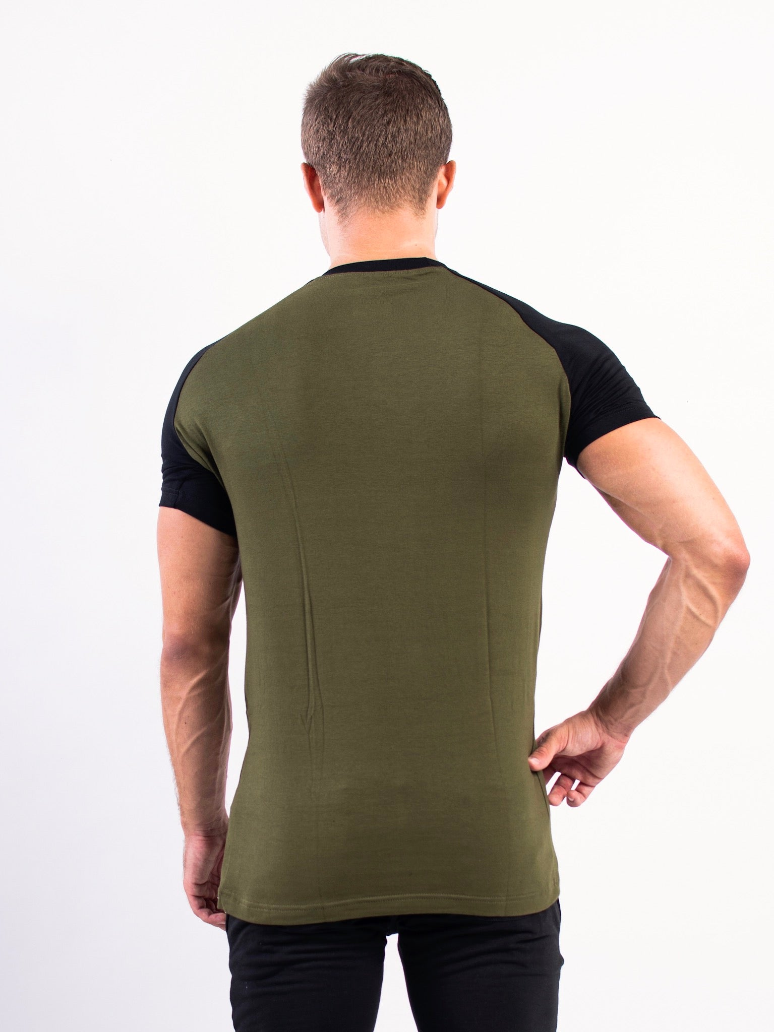Split T-shirt Olive Green and Black