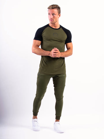 Lionn Split T-shirt Olive Green and Black