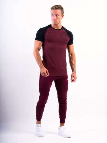 Split T-shirt Maroon and Black