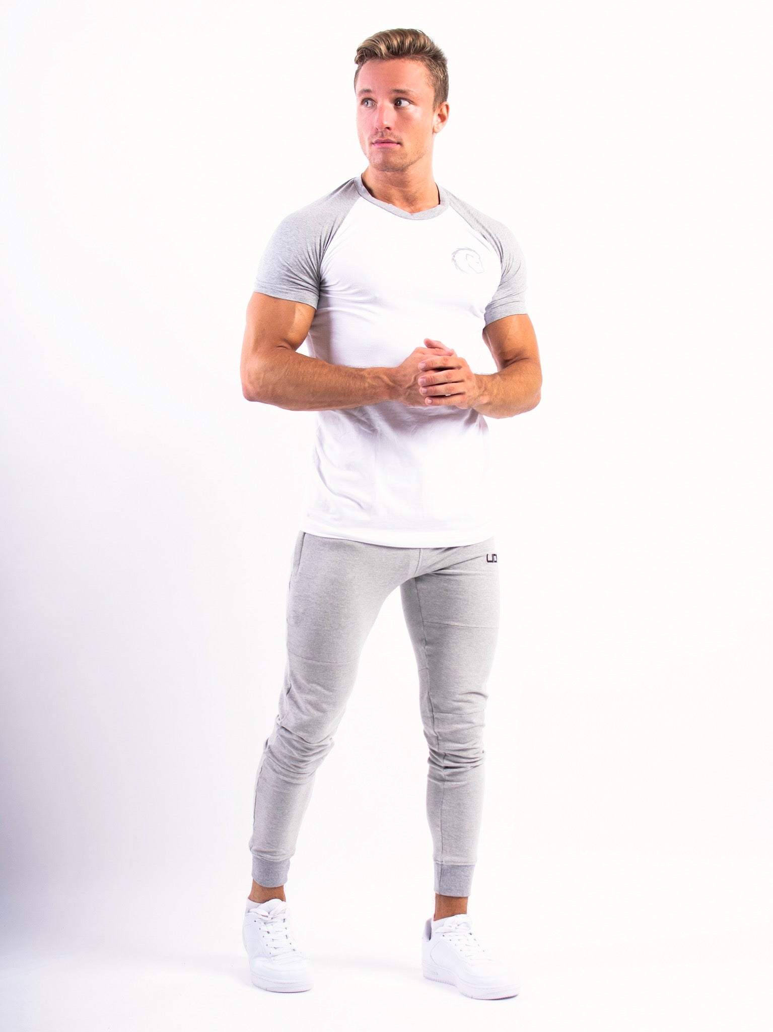 Split T-shirt White and Heather Grey