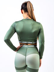 Lionn Contour Cropped Long Sleeve Light Forest Green