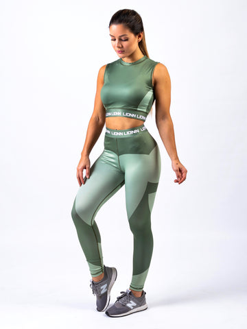 Lionn Contour Crop Top Light Forest Green