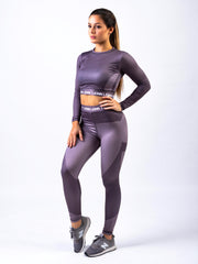Contour Cropped Long Sleeve Aubergine