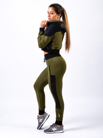 Lionn Contrast Cropped Hoodie Olive Green and Black