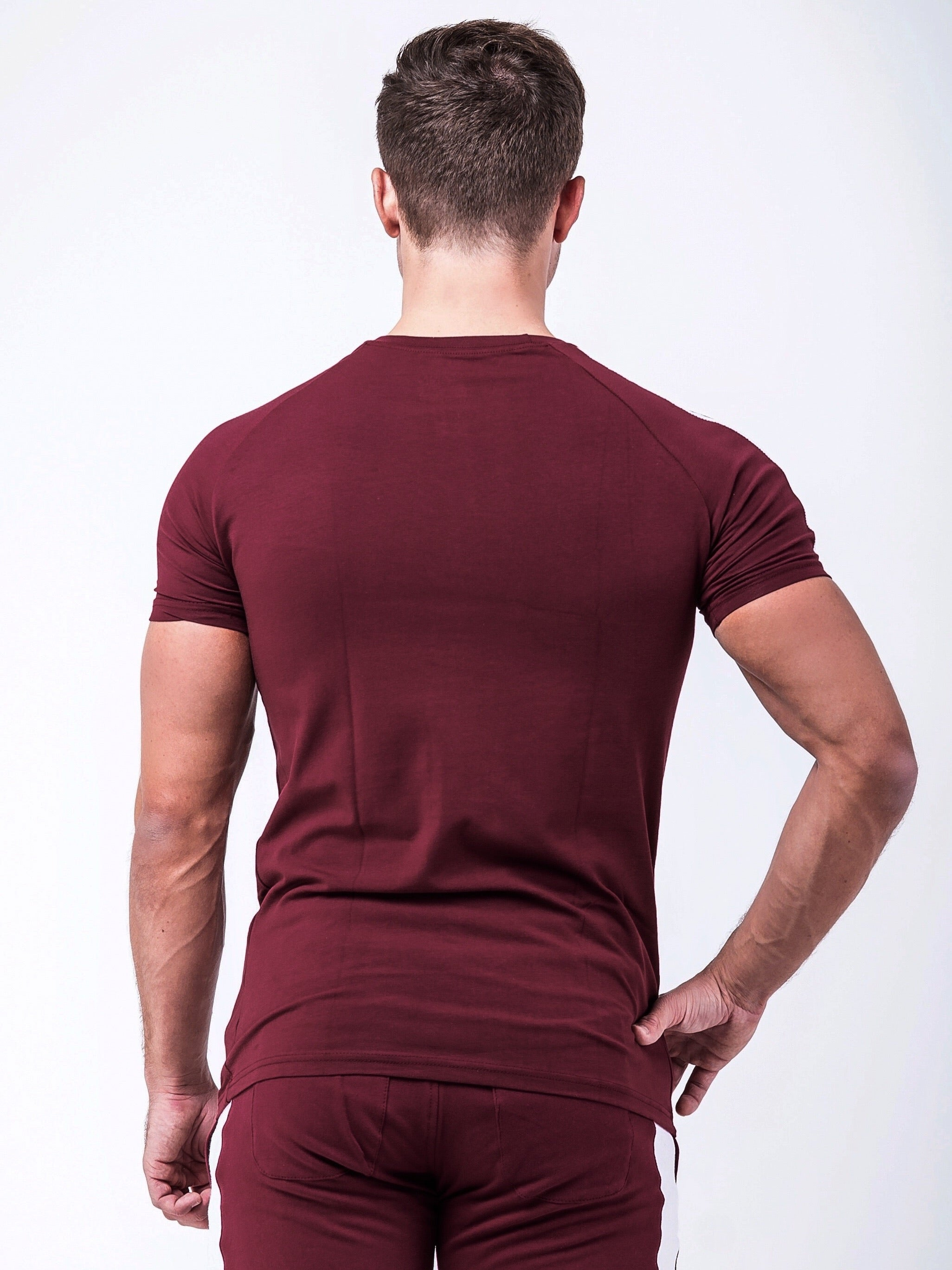 Fitted Side Panel T-shirt Maroon