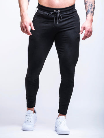 Fitted Side Panel Joggers Black