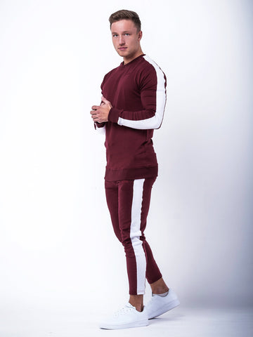 Fitted Side Panel Sweatshirt Maroon and White