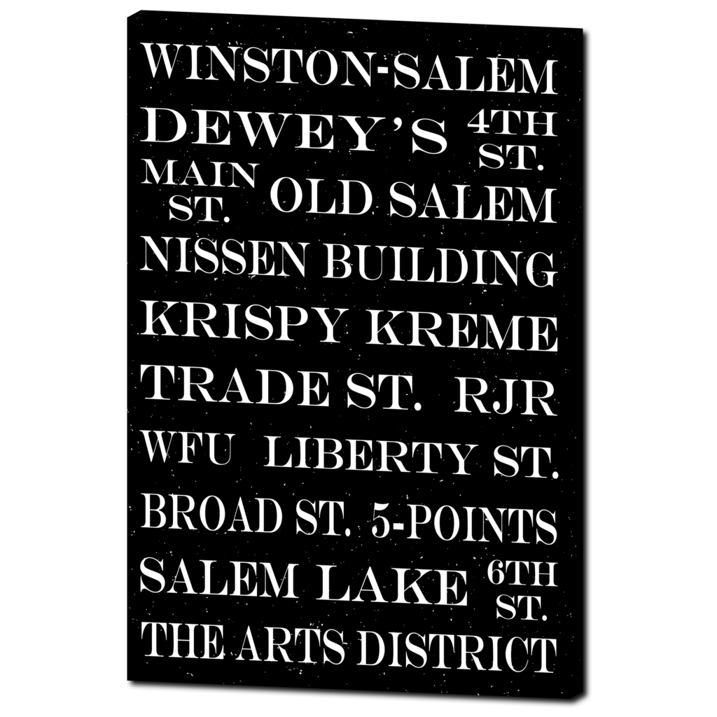 Winston-Salem Subway Art: Canvas Gallery Wrap in Black