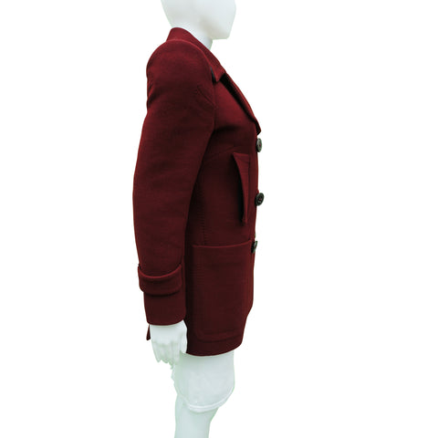 6267 WOOL BURGUNDY PEACOAT Shop online the best value on authentic designer used preowned consignment on Leef Luxury.