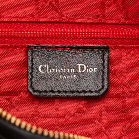 CHRISTIAN DIOR LADY DIOR MEDIUM BLACK BAG - leefluxury.com