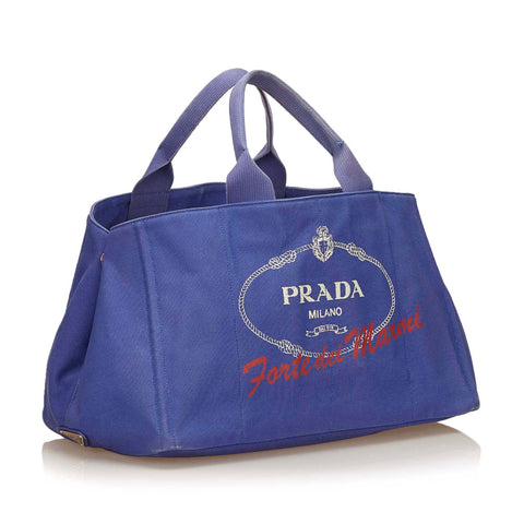 PRADA CANAPA CANVAS TOTE BAG Shop the best value on authentic designer resale consignment on Leef Luxury