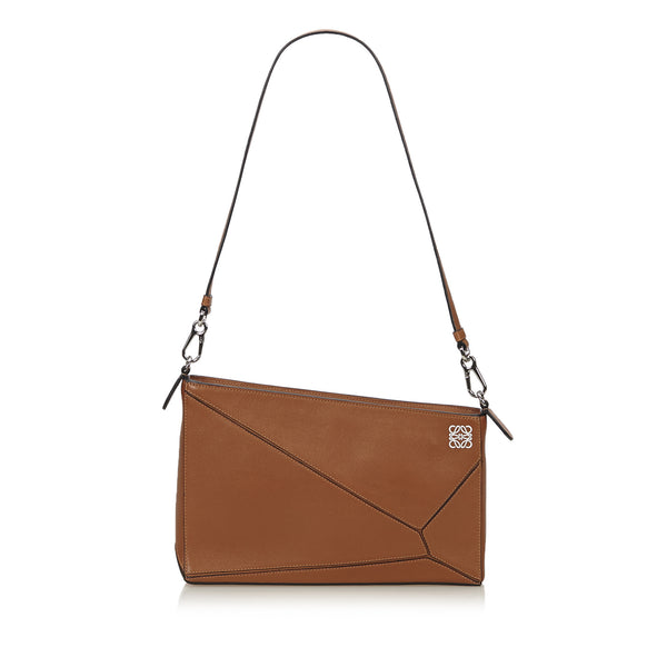 LOEWE CARAMEL LEATHER PUZZLE CLUTCH BAG