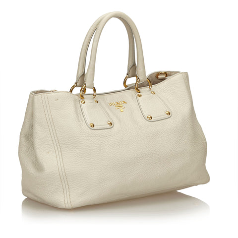 PRADA VITELLO DAINO GRAINED LEATHER SHOULDER BAG - leefluxury.com