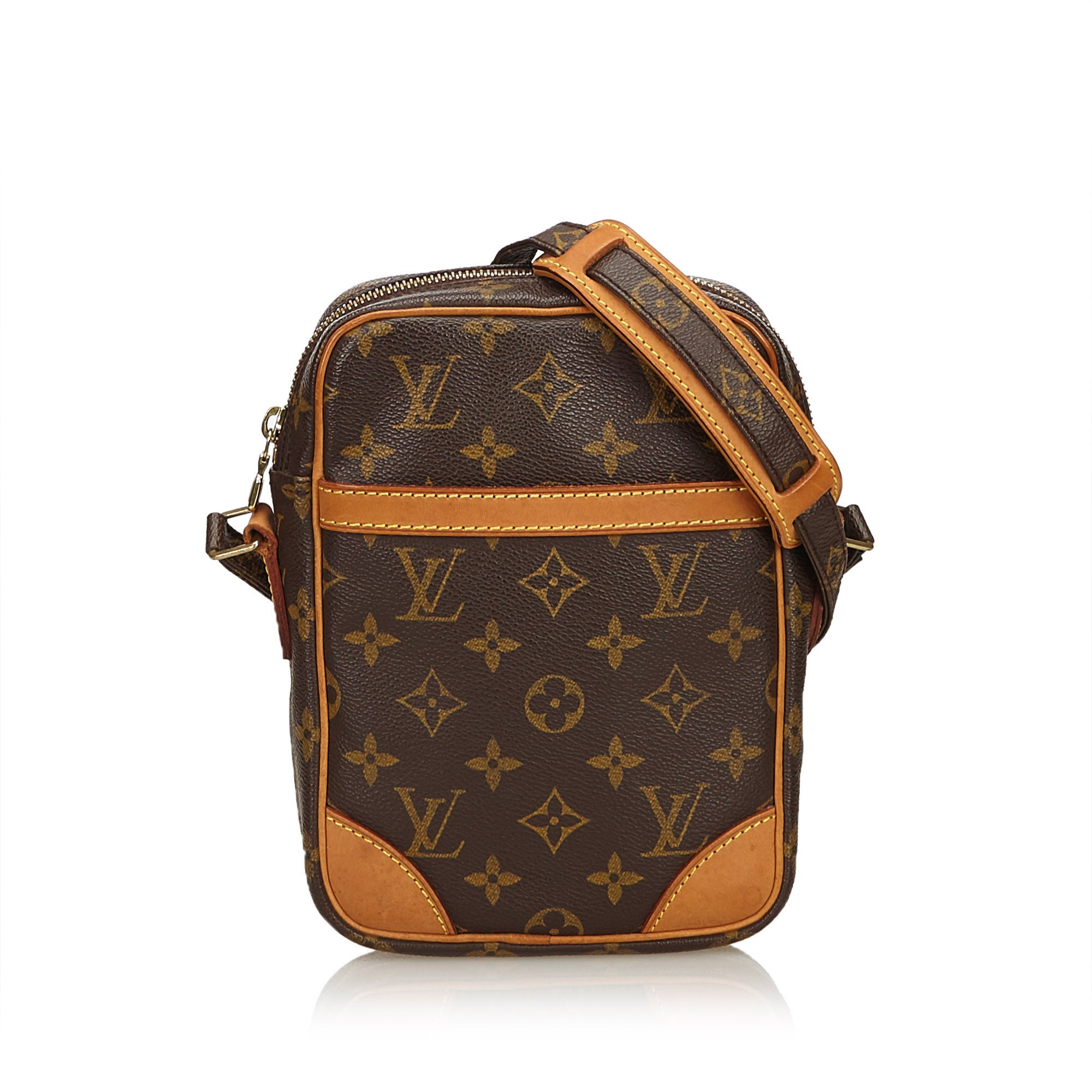 55c39049cdafd LOUIS VUITTON MONOGRAM DANUBE CROSSBODY BAG Shop the best value on  authentic designer used preowned consignment ...