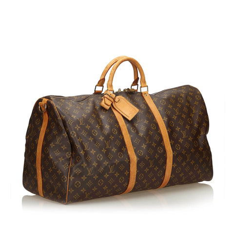 LOUIS VUITTON MONOGRAM KEEPALL BANDOULIERE 60 TRAVEL WEEKENDER  BAG - leefluxury.com