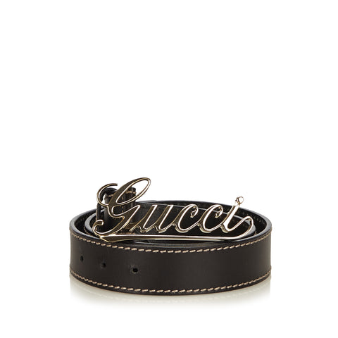 GUCCI LOGO LEATHER BELT - leefluxury.com