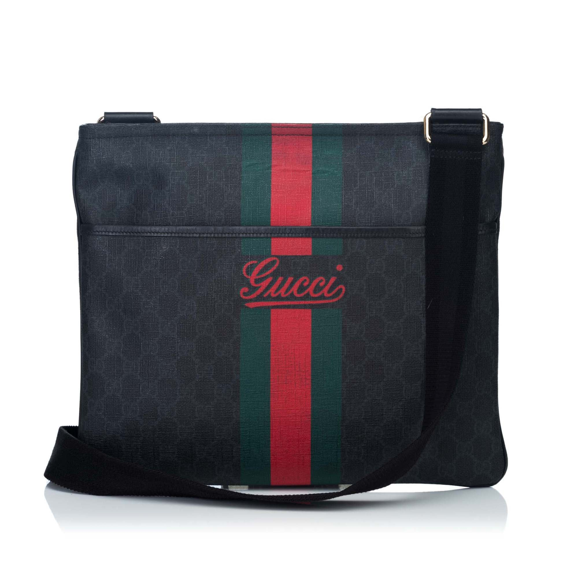 18119055b67 GUCCI SUPREME WEB MESSENGER BAG Shop online the best value on authentic  designer used preowned consignment ...