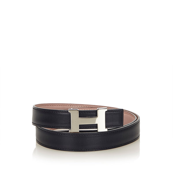 HERMES CONSTANCE H REVERSIBLE BLACK AND PINK BELT 75