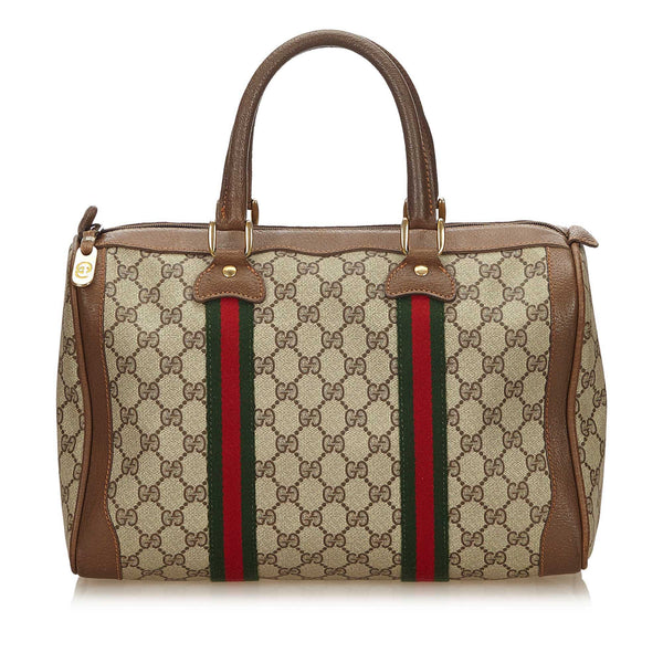 GUCCI GG WEB SUPREME PLUS BOSTON BAG